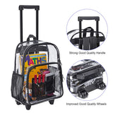 Magicbags Rolling Clear Backpack, Heavy Duty Cold-Resistant Security Transparent PVC Backpack with Wheels - backpacks4less.com