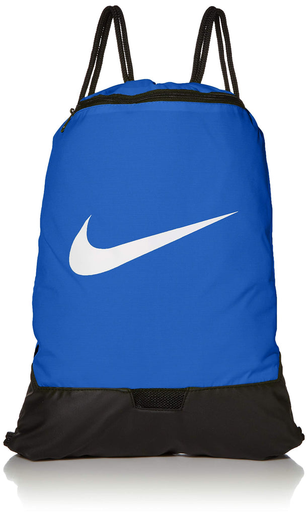 Nike Brasilia Training Gymsack, Drawstring Backpack with Zipper Pocket and Reinforced Bottom, Game Royal/Game Royal/White - backpacks4less.com