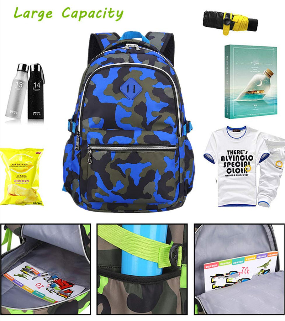 Ladyzone Camo School Backpack Lightweight Schoolbag Travel Camp Outdoor Daypack Bookbag for Your Children (Camouflage Blue(NS)) - backpacks4less.com