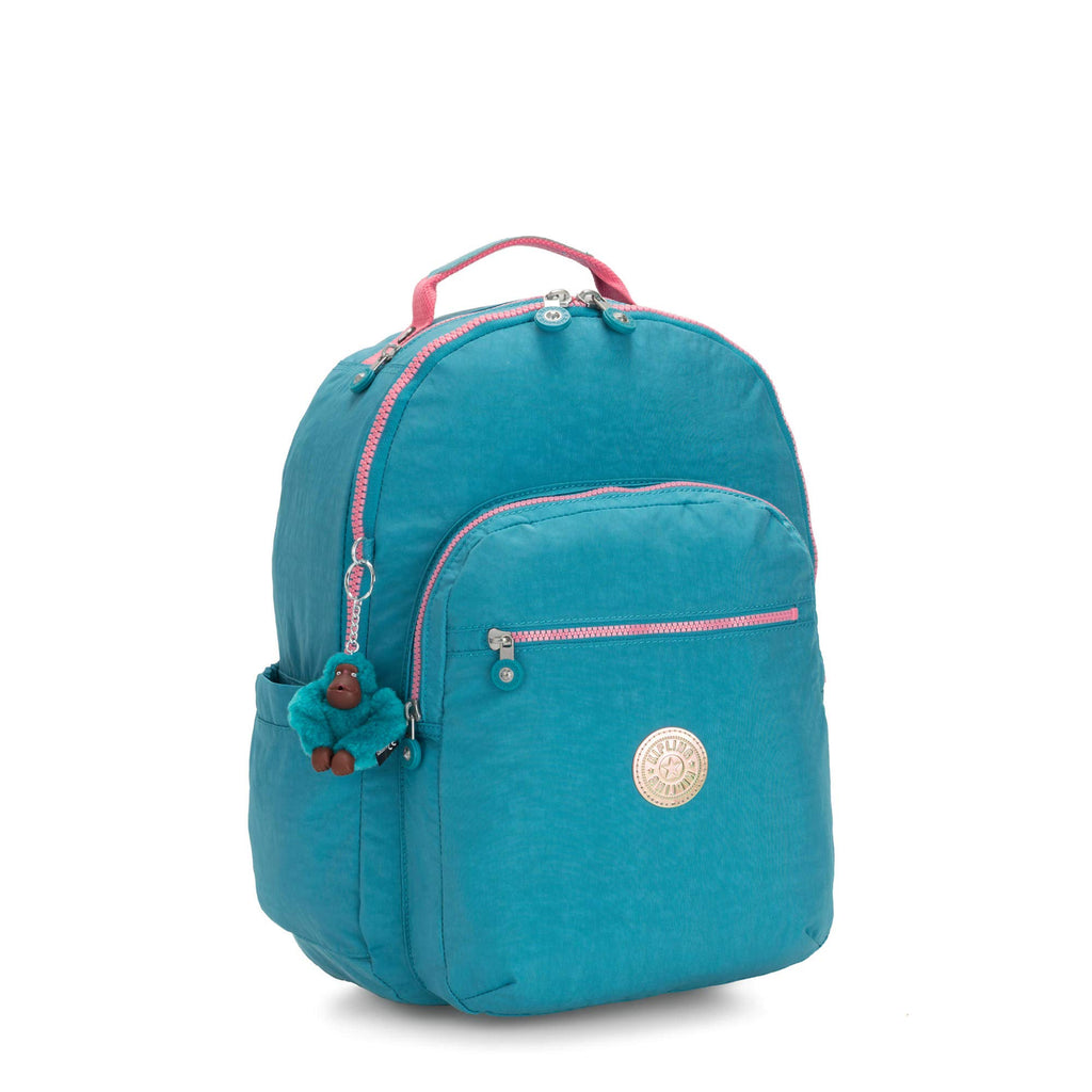 "Kipling Seoul Large 15"" Laptop Backpack Turquoise Sea - backpacks4less.com"