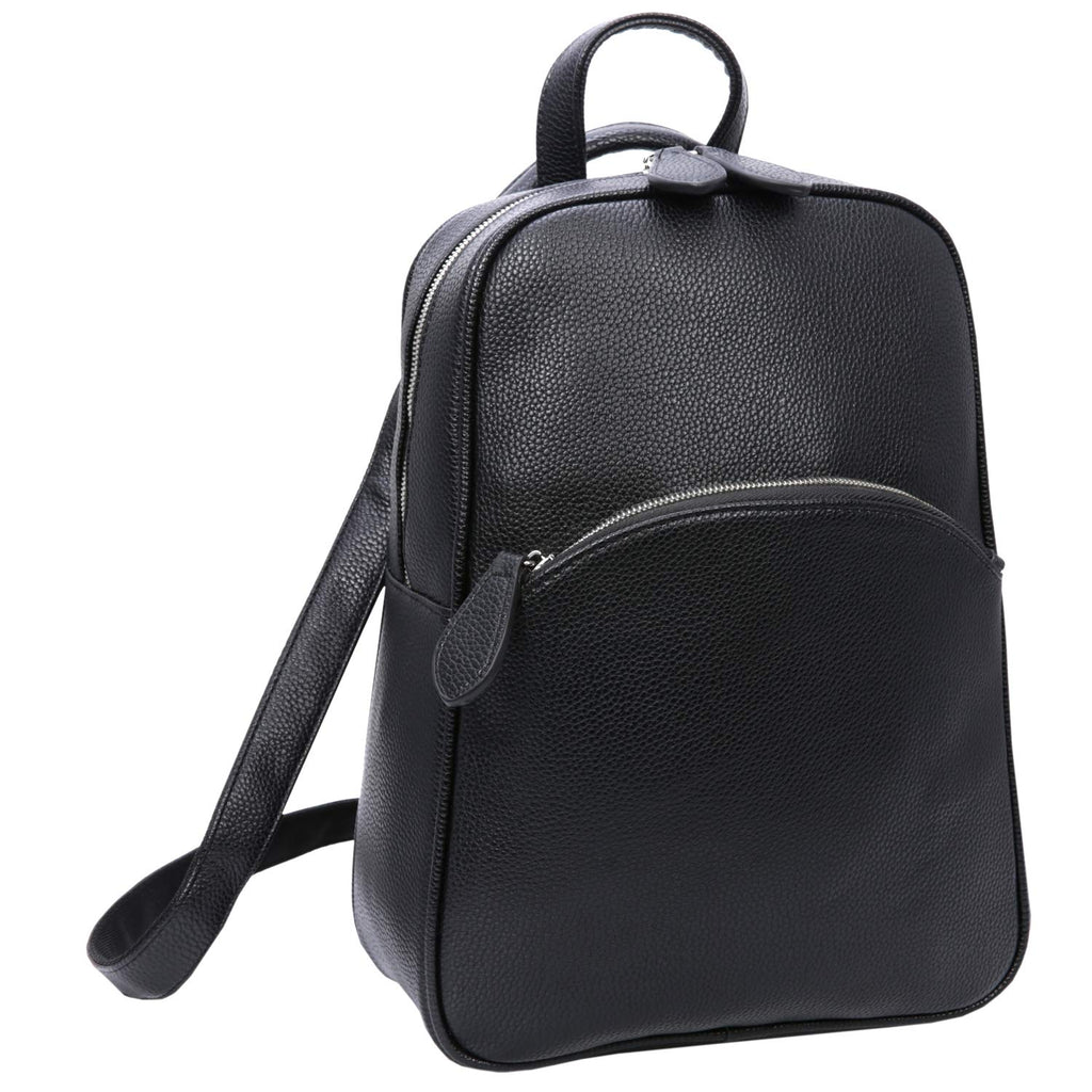 Heshe Women's Casual Leather Backpack Daypack for Ladies (PU-Black) - backpacks4less.com