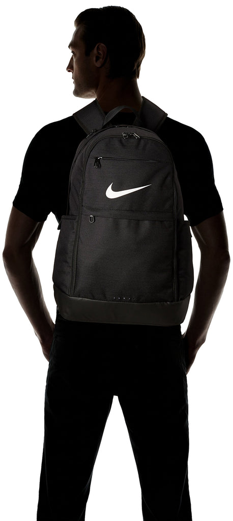 Nike Brasilia Training Backpack, Extra Large Backpack Built for Secure Storage with a Durable Design, Black/Black/White - backpacks4less.com