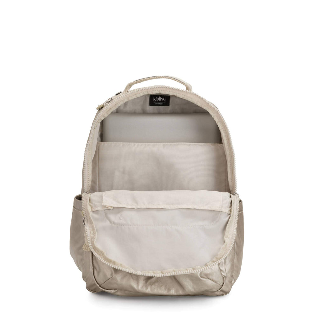 "Kipling Seoul Large 15"" Laptop Backpack Cloud Metal C - backpacks4less.com"