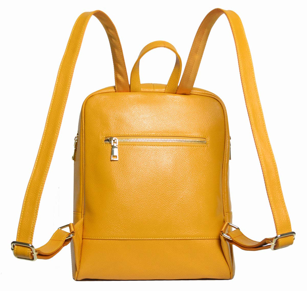 Coolcy Hot Style Women Real Genuine Leather Backpack Fashion Bag (Golden yellow) - backpacks4less.com
