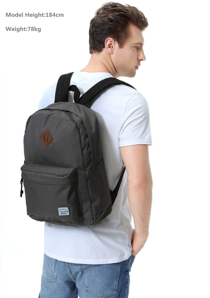 Lightweight Backpack for School, VASCHY Classic Basic Water Resistant Casual Daypack for Travel with Bottle Side Pockets (Gray) - backpacks4less.com