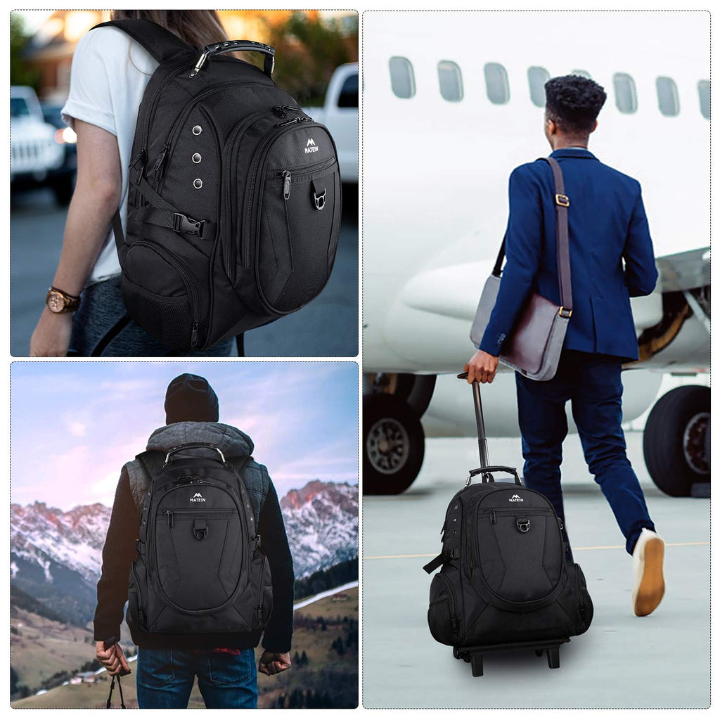 Matein Rolling Backpack, Travel Backpack with Removable Wheels for Men and Women, Roller Backpack fit 17 inch Laptop for Business, School, College, Black - backpacks4less.com