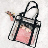 iSPECLE Clear Bag, Clear Tote Bag NFL Stadium Approved for Concert, Sport Football Games, Works, Shoulder Strap for Women Men 12 x 12 x 6 inch Black - backpacks4less.com