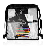 Heavy-duty Large Clear Drawstring Bag Waterproof PVC Drawstring Backpack With Front And Inner Pockets - backpacks4less.com