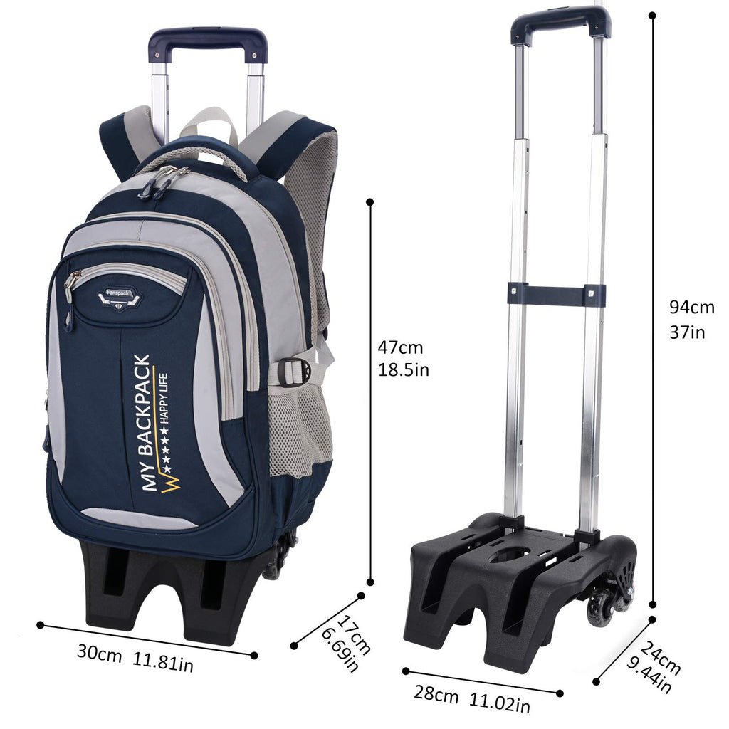 Rolling Backpack, Fanspack 2019 New Wheeled Backpack Trolley School Bags for Boys Backpack with 6 Wheels Kids Backpack - backpacks4less.com