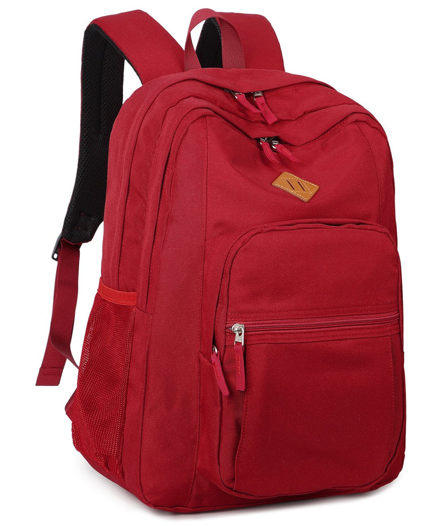 Abshoo Girls Solid Color Backpack For College Women Water Resistant School Bag (Red) - backpacks4less.com