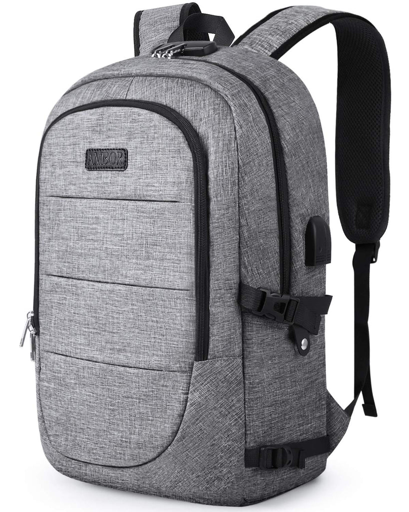 Travel Laptop Backpack, AMBOR 17.3 Inch Anti Theft Business Backpack with USB Charging Port and Headphone Interface,Large Computer Backpack School Daypack Backpack for Women and Men-Grey - backpacks4less.com