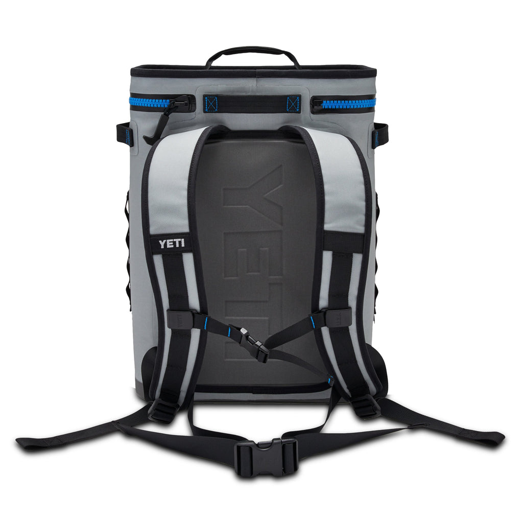 YETI Hopper Backflip 24 Soft Sided Cooler/Backpack, Fog Gray/Tahoe Blue - backpacks4less.com