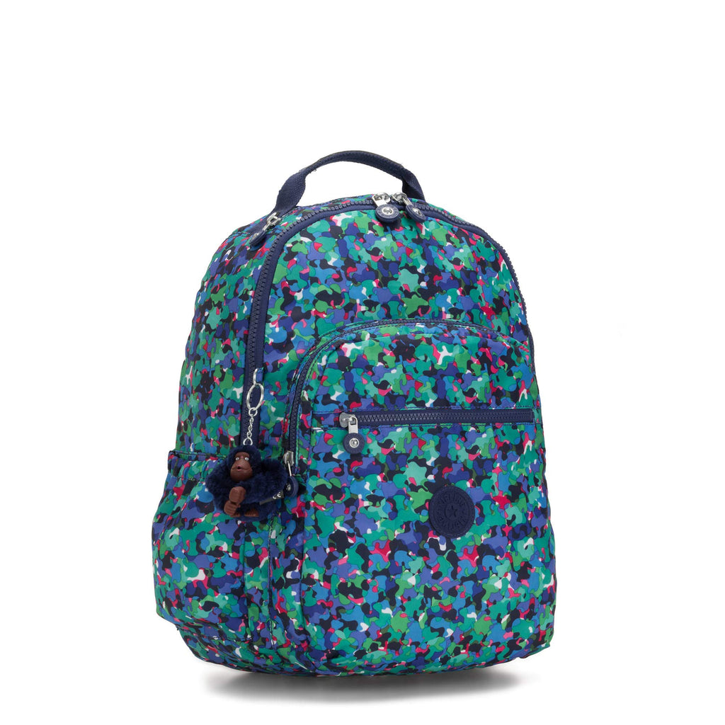 "Kipling Seoul Go Large Printed Laptop 15"" Backpack Neon Frills - backpacks4less.com"