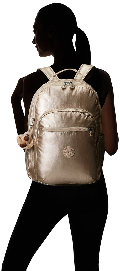 Seoul L Solid Laptop Backpack, Sparkly Gold - backpacks4less.com