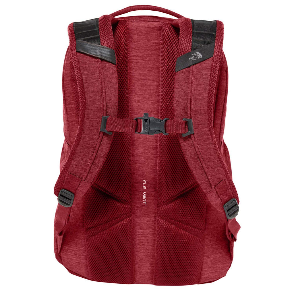 The North Face Jester Backpack, TNF Dark Grey Heather/Cardinal Red, One Size - backpacks4less.com