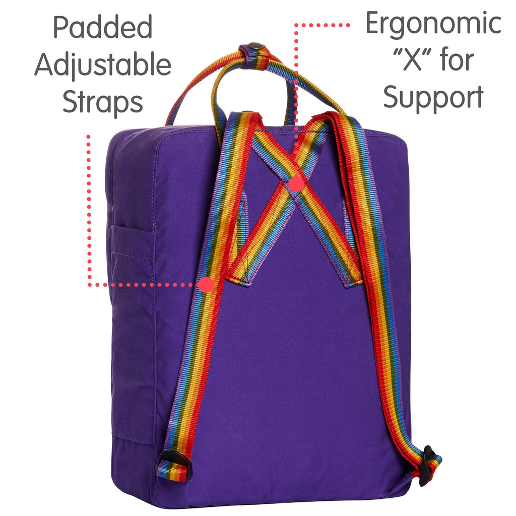 Fjallraven - Kanken Classic Backpack for Everyday, Purple/Rainbow Pattern - backpacks4less.com
