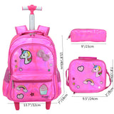 Meetbelify Girls Unicorn Rolling Backpack Wheel Backpacks for Girls for School Backpack with Wheels Kids Trolley Luggage School Bags - backpacks4less.com