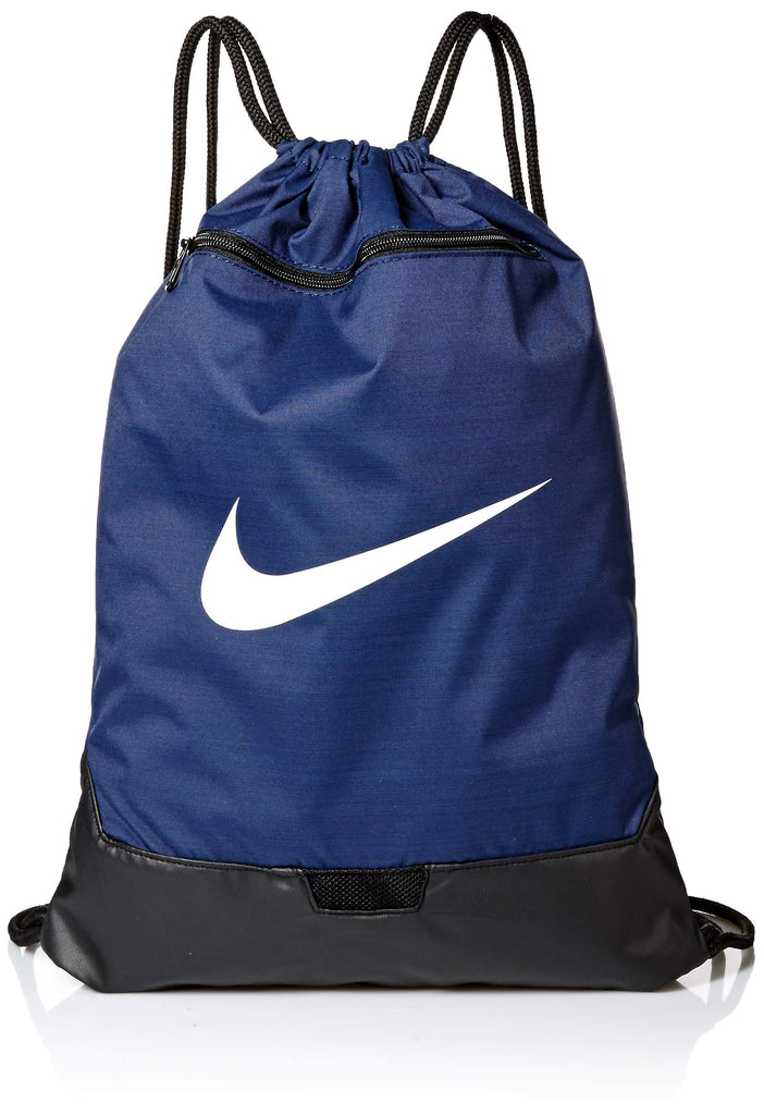 Nike Brasilia Training Gymsack, Drawstring Backpack with Zipper Pocket and Reinforced Bottom, Midnight Navy/Black/White - backpacks4less.com