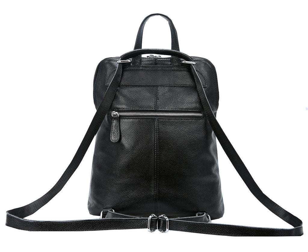 Heshe Women's Vintage Leather Backpack Casual Daypack for Ladies and Girls (Black-L) - backpacks4less.com