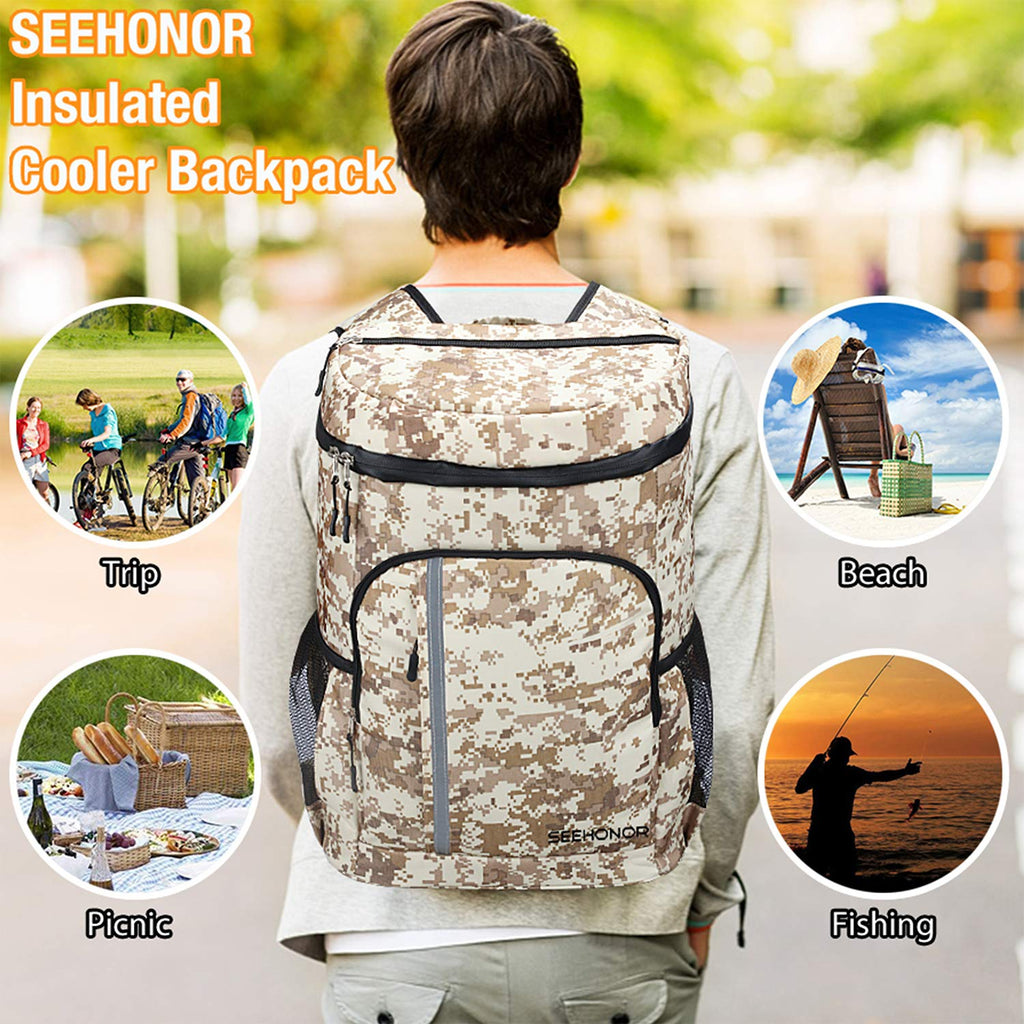 SEEHONOR Insulated Cooler Backpack Leakproof Soft Cooler Bag Lightweight Backpack with Cooler for Lunch Picnic Hiking Camping Beach Park Day Trips, 30 Cans (Camouflage) - backpacks4less.com