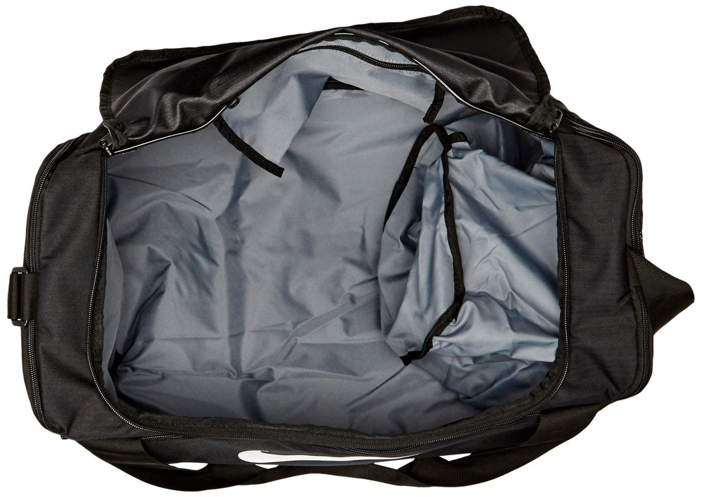 NIKE Brasilia Small Duffel - 9.0, Black/Black/White, Misc - backpacks4less.com