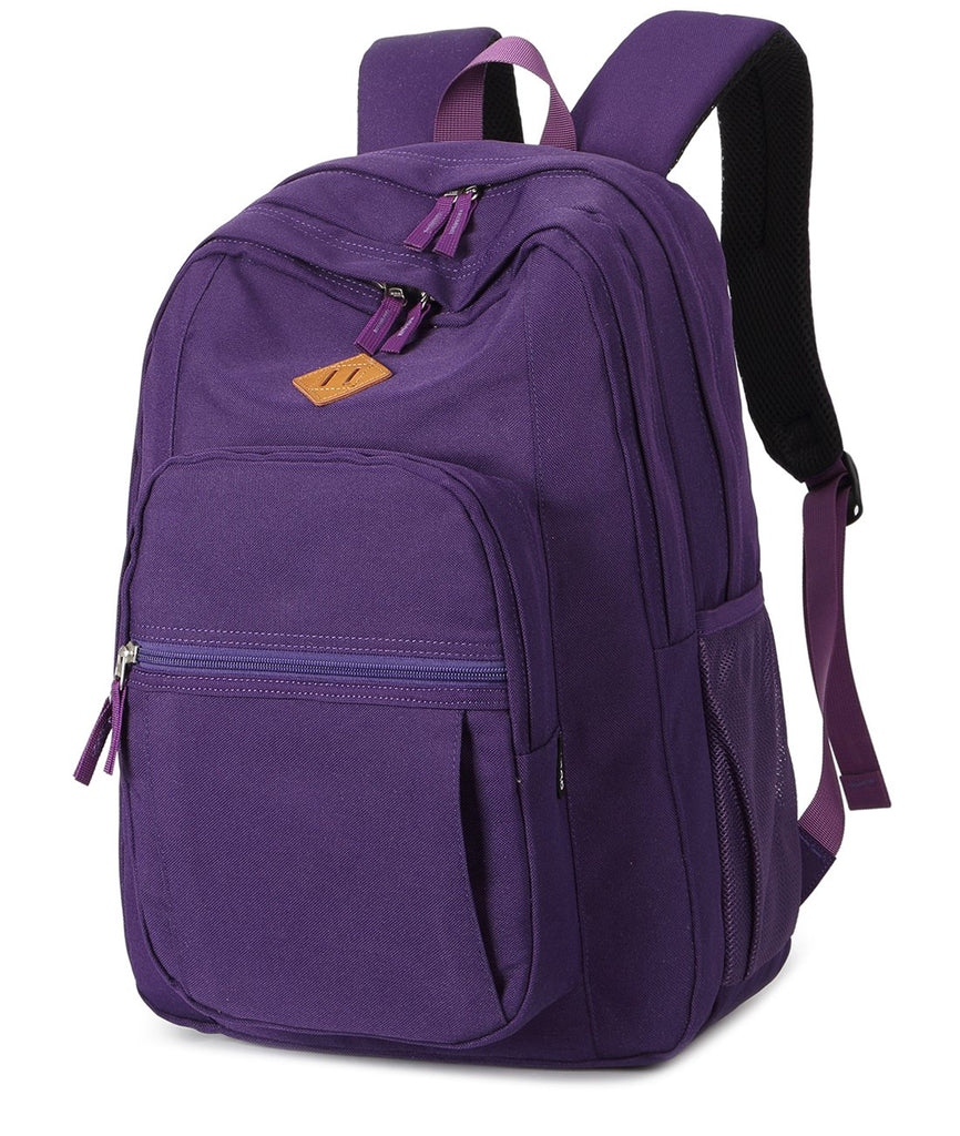 Abshoo Girls Solid Color Backpack For College Women Water Resistant School Bag (Purple) - backpacks4less.com