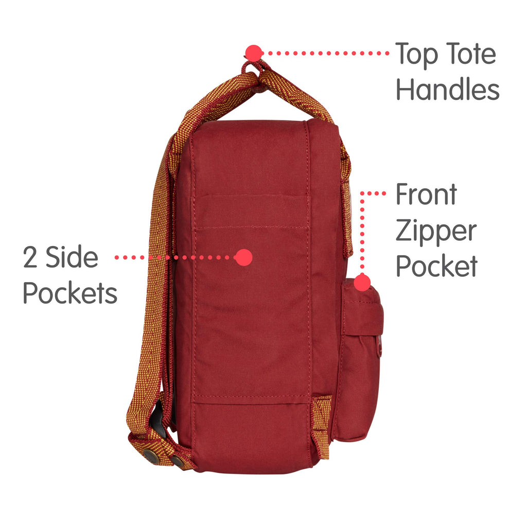 Fjallraven - Kanken Mini Classic Backpack for Everyday, Ox Red/Goose Eye - backpacks4less.com
