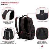 SWISSGEAR Large Padded 15-inch Laptop Backpack | Work, School, Commute | Men's and Women's - Black - backpacks4less.com