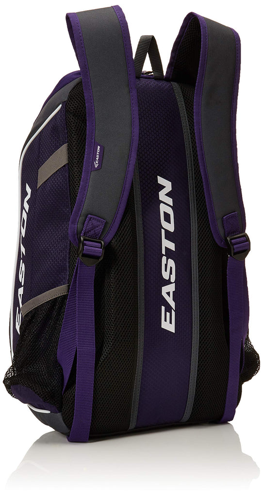 EASTON GAME READY Bat & Equipment Backpack Bag | Baseball Softball | 2020 | Purple | 2 Bat Pockets | Vented Main Compartment | Vented Shoe Pocket | Zippered Valuables Pocket | Fence Hook - backpacks4less.com