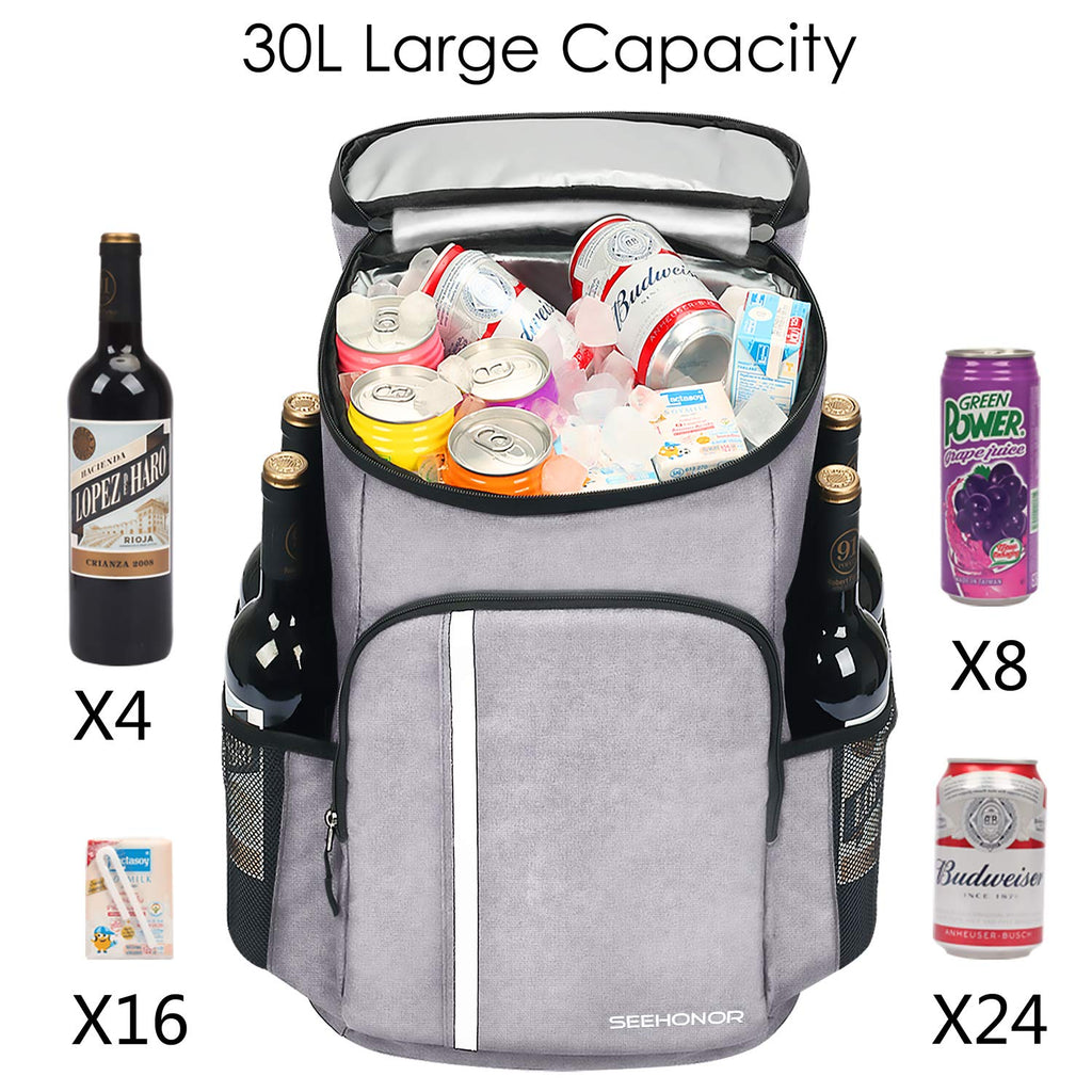 SEEHONOR Insulated Cooler Backpack Leakproof Soft Cooler Bag Lightweight Backpack Cooler for Lunch Picnic Hiking Camping Beach Park Day Trips, 30 Cans - backpacks4less.com