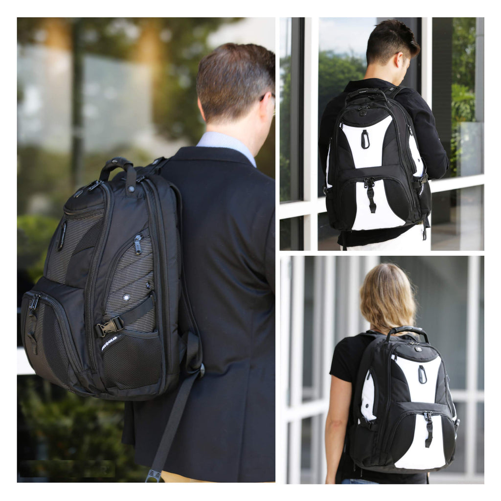 SWISSGEAR Large ScanSmart Laptop Backpack | TSA-Friendly Carry-on | Travel, Work, School | Men's and Women's - Black/White - backpacks4less.com