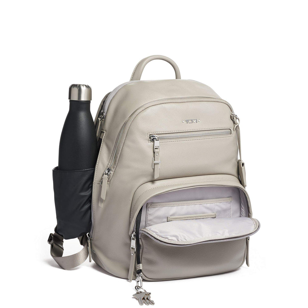 TUMI - Voyageur Hartford Leather Laptop Backpack - 13 Inch Computer Bag For Women - Grey - backpacks4less.com