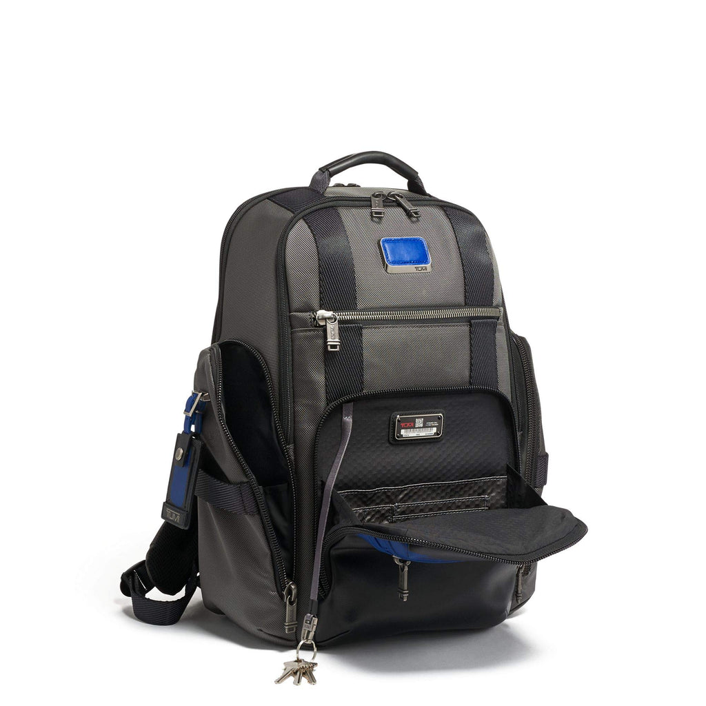 TUMI - Alpha Bravo Sheppard Deluxe Brief Pack Laptop Backpack - 15 Inch Computer Bag for Men and Women - Brushed Blue - backpacks4less.com