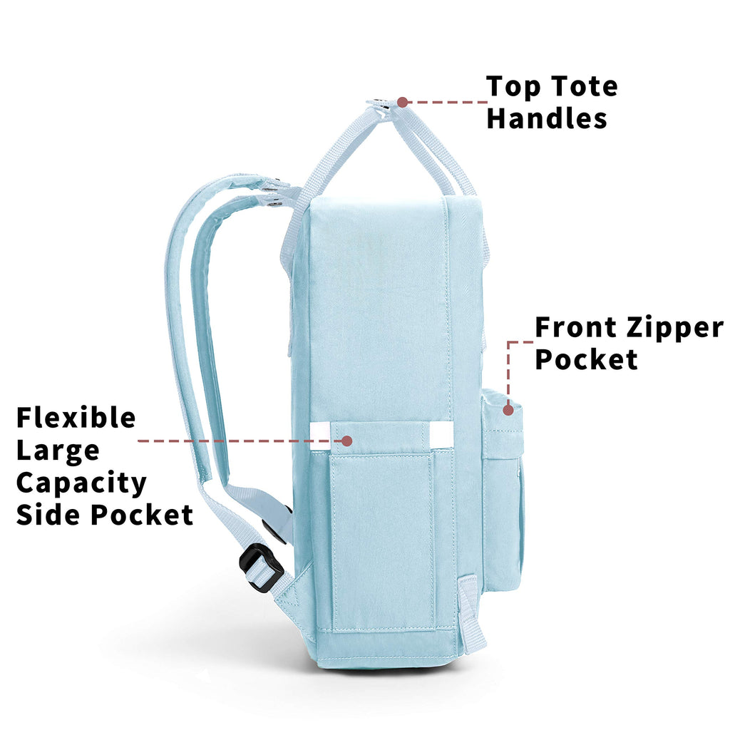 KALIDI Casual Backpack for Women,15 Inches Laptop Classic Backpack Camping Rucksack Travel Outdoor Daypack College School Bag (Light Blue) - backpacks4less.com