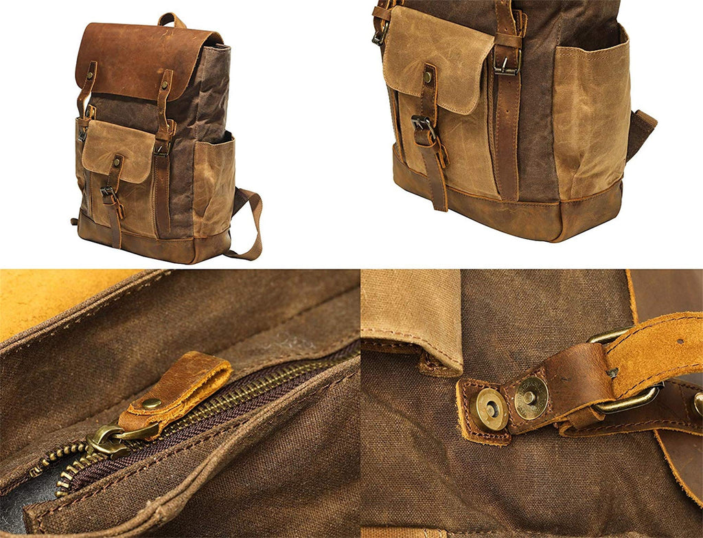 Vintage Canvas waxed Leather Backpack w/Laptop Storage (Large) High School, College, Travel Bag | Canvas and Cotton Craftsmanship | All-Purpose Rucksack for Men, Women, Kids - backpacks4less.com
