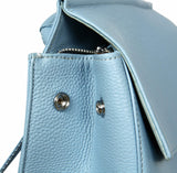 Heshe Womens Leather Backpack Casual Style Flap Backpacks Daypack for Ladies (Light Blue) - backpacks4less.com