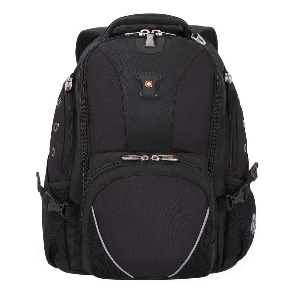 SWISSGEAR 1592 Deluxe Laptop Backpack Work School and Travel - Black/RED - backpacks4less.com
