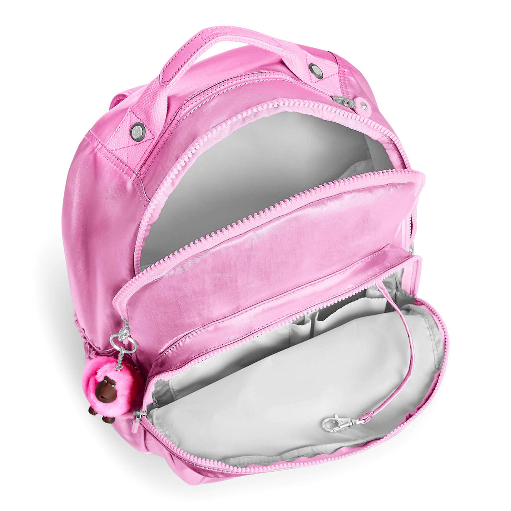 "Kipling Seoul Go Large Metallic 15"" Laptop Backpack Prom Pink Metallic - backpacks4less.com"