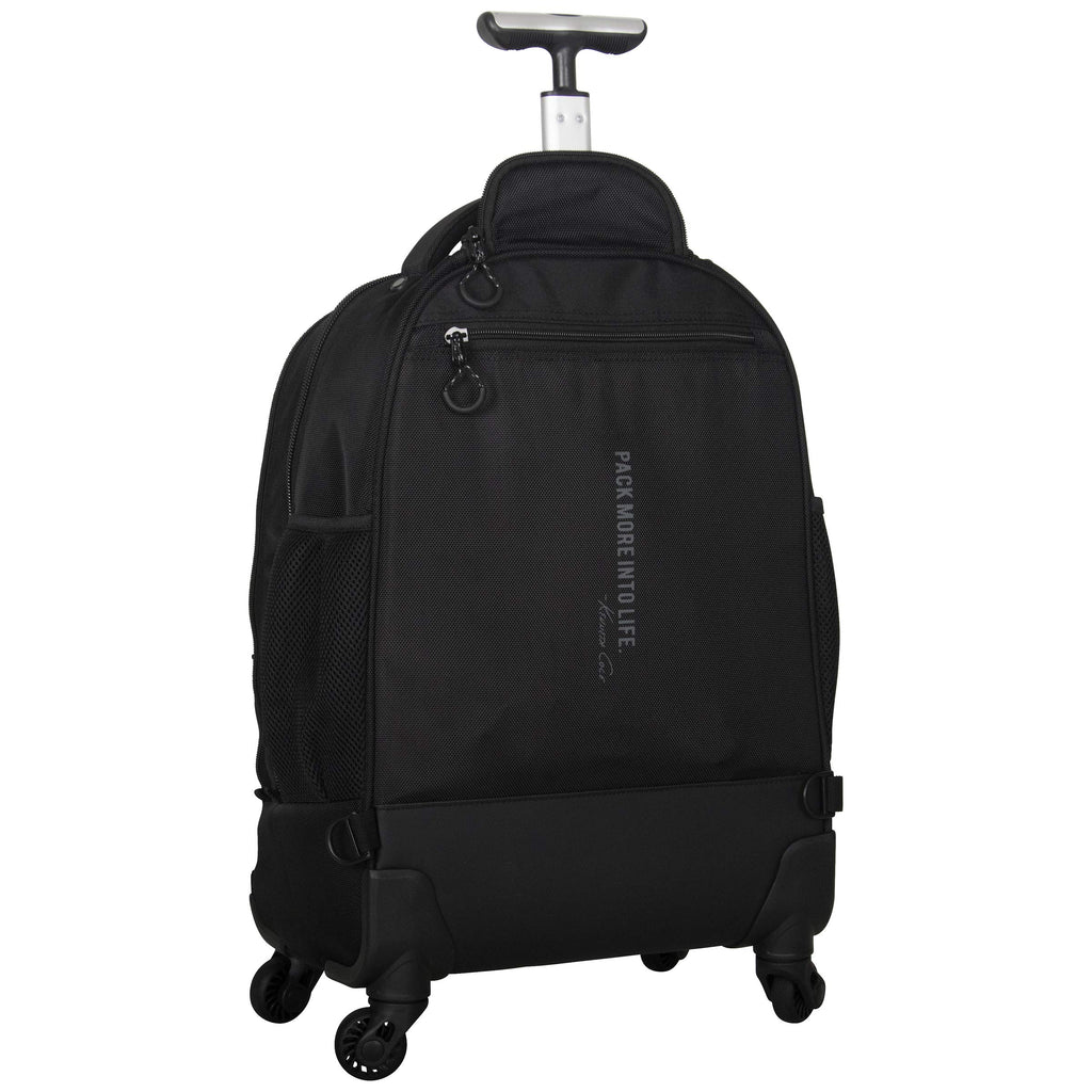"Kenneth Cole Reaction 17"" Polyester Dual Compartment 4-Wheel Laptop Backpack, Black - backpacks4less.com"