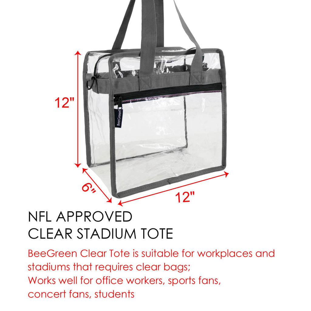 Clear-Bag-For-Women-Stadium-Approved-12 x 12 x 6, NCAA NFL& PGA Security Approved Shoulder Messenger Tote Bag with Adjustable Strap - backpacks4less.com