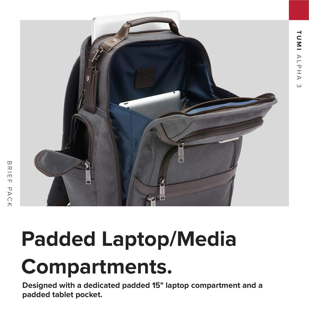 TUMI - Alpha 3 Brief Pack - 15 Inch Computer Backpack for Men and Women - Anthracite - backpacks4less.com