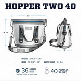 YETI Hopper Two 40 Portable Cooler, Fog Gray / Tahoe Blue - backpacks4less.com