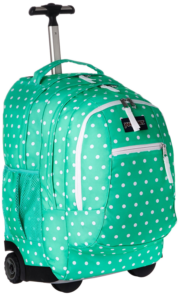 JanSport Unisex Driver 8 Wheeled Seafoam Green/White Dots Backpack - backpacks4less.com