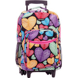 Rockland Luggage 17 Inch Rolling Backpack, Multi Heart - backpacks4less.com