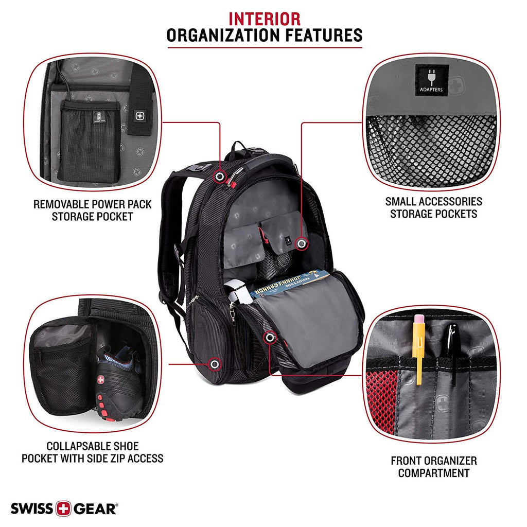 SWISSGEAR 5358 Ultimate Protection USB TSA Friendly Scansmart Laptop Backpack and Cable Lock Bundle-Black - backpacks4less.com