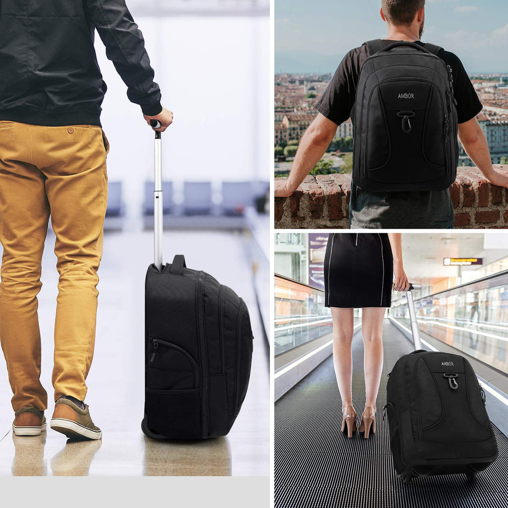 Rolling Backpack,Wheeled Laptop Backpack for Travel,Freewheel Carryon Trolley Luggage Suitcase Compact Business Bag,Wheeled Rucksack Student Computer Trolley Carry Luggage Fits 15.6Inch Laptop - Black - backpacks4less.com