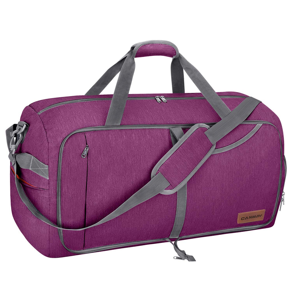 Canway 65L Travel Duffel Bag, Foldable Weekender Bag with Shoes Compartment for Men Women Water-proof & Tear Resistant (Lavender Purple, 65L) - backpacks4less.com