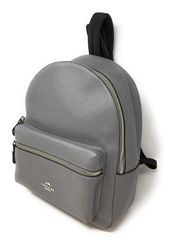 Coach Pebbled Leather Medium Charlie Backpack Tote (Grey) - backpacks4less.com