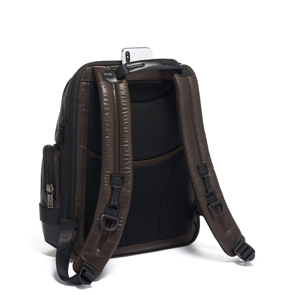 TUMI - Alpha Bravo Nathan Leather Laptop Backpack - 15 Inch Computer Bag for Men and Women - Dark Brown - backpacks4less.com