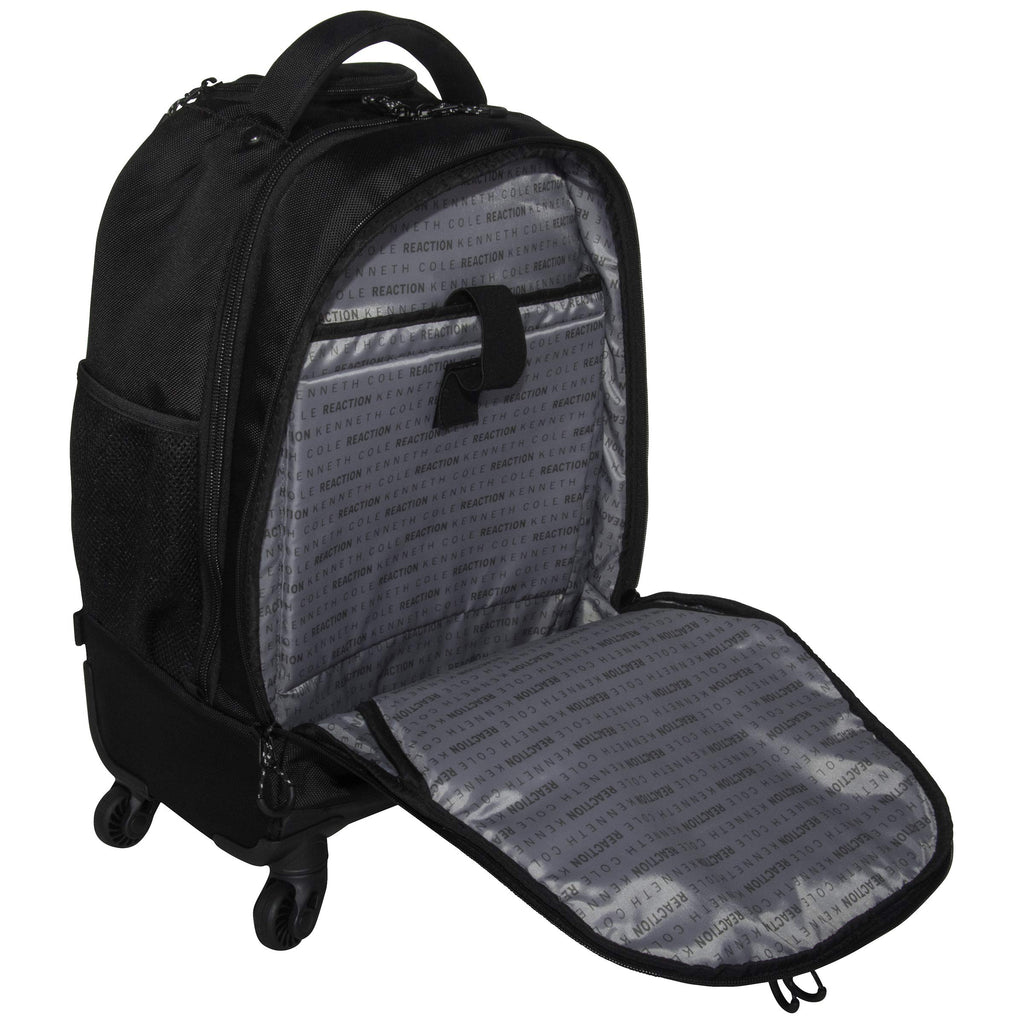 "Kenneth Cole Reaction 17"" Polyester Dual Compartment 4-Wheel Laptop Backpack, Pindot Charcoal - backpacks4less.com"